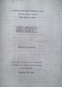Title page from Cridland's dissertation