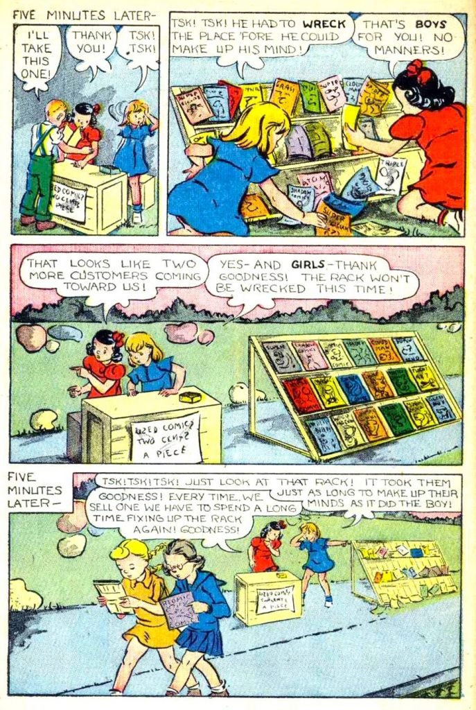 A page of Jane Krom's art from the Dotty story in Supersnipe Comics, November 1946.
