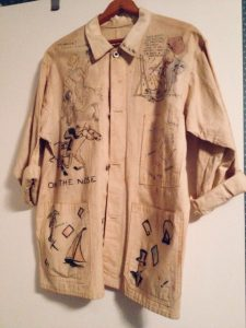 Jane Krom's beer jacket with a sketch by Jim Berryman at the top right.
